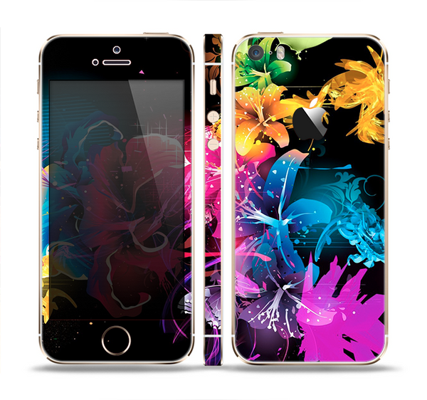 The Abstract Bright Neon Floral Skin Set for the Apple iPhone 5s