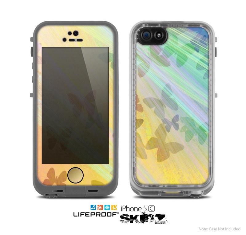 The Abstract Color Butterfly Shadows Skin for the Apple iPhone 5c LifeProof Case
