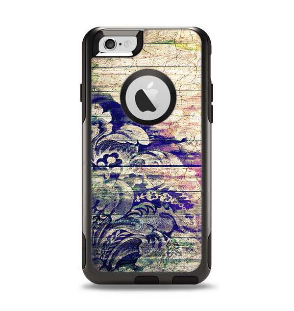 The Abstract Color Floral Painted Wood Planks Apple iPhone 6 Otterbox Commuter Case Skin Set
