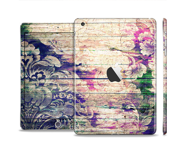 The Abstract Color Floral Painted Wood Planks Full Body Skin Set for the Apple iPad Mini 2