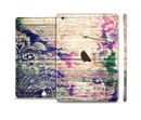 The Abstract Color Floral Painted Wood Planks Full Body Skin Set for the Apple iPad Mini 3