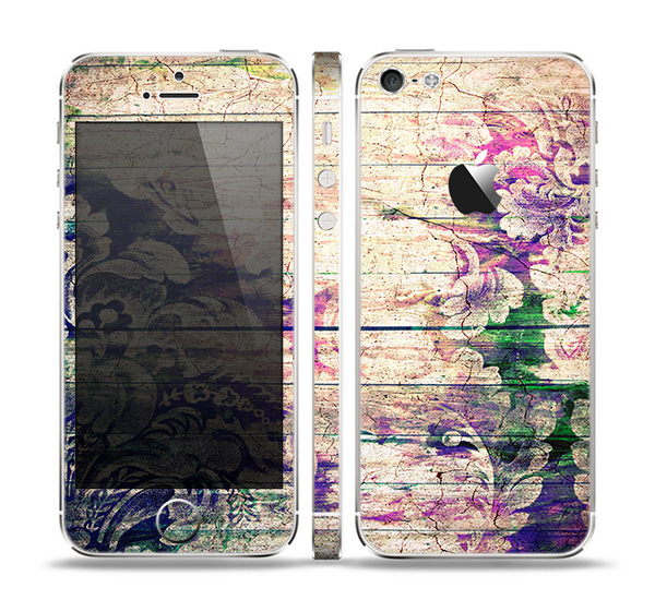 The Abstract Color Floral Painted Wood Planks Skin Set for the Apple iPhone 5