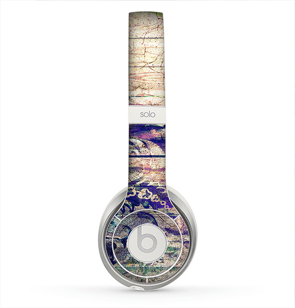The Abstract Color Floral Painted Wood Planks Skin for the Beats by Dre Solo 2 Headphones