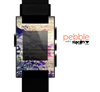 The Abstract Color Floral Painted Wood Planks Skin for the Pebble SmartWatch