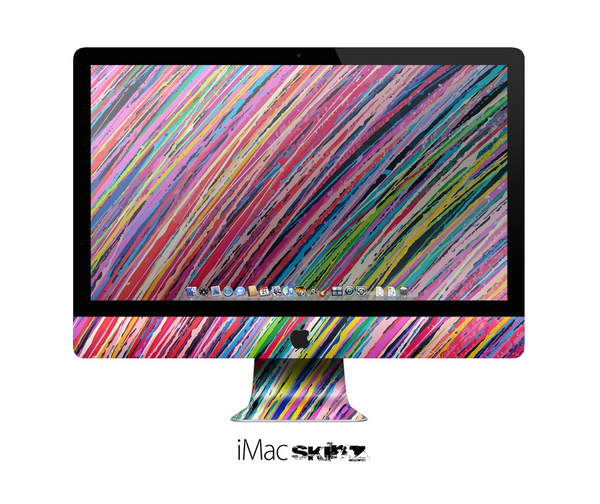 The Abstract Color Strokes Skin for the Apple iMac 27 Inch Desktop Computer