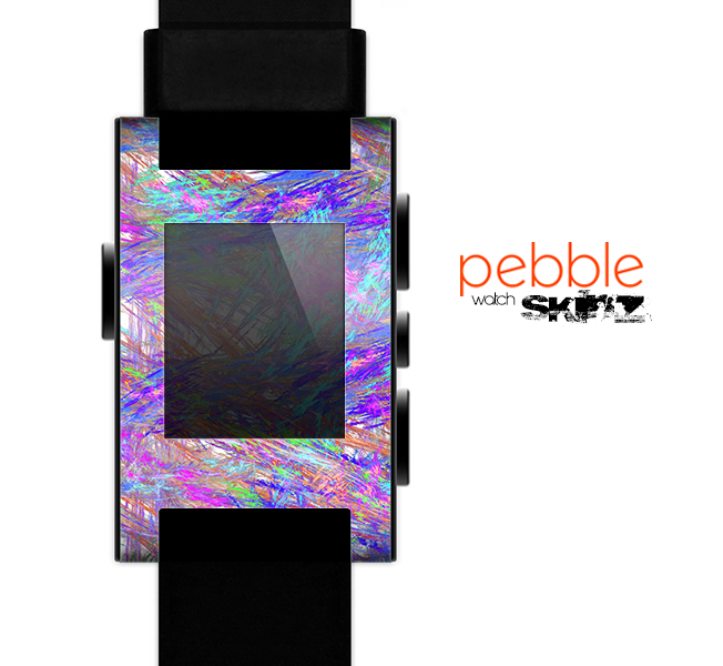The Abstract Colorful Oil Paint Splatter Strokes Skin for the Pebble SmartWatch