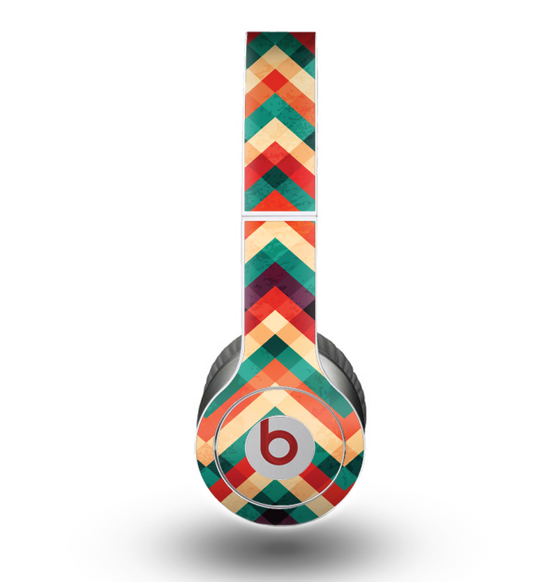 The Abstract Fall Colored Chevron Pattern Skin for the Beats by Dre Original Solo-Solo HD Headphones