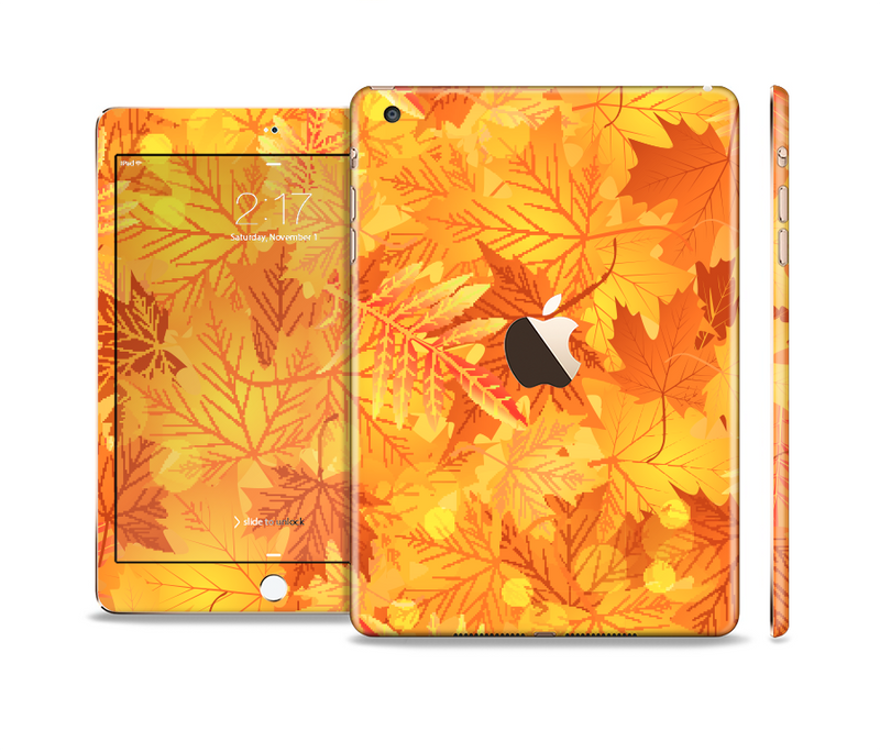 The Abstract Fall Leaves Full Body Skin Set for the Apple iPad Mini 3
