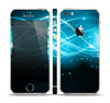 The Abstract Glowing Blue Swirls Skin Set for the Apple iPhone 5s