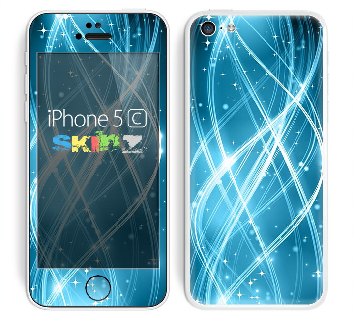 The Abstract Glowing Blue Swirls Skin for the Apple iPhone 5c