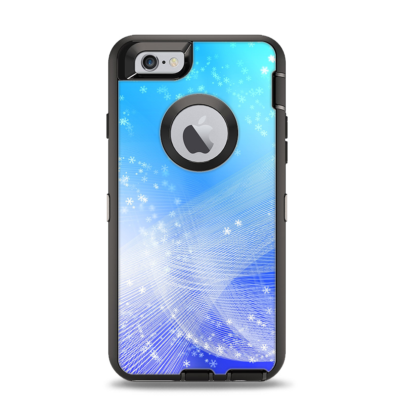 newest 4b991 178bc The Abstract Light Blue Scattered Snowflakes Apple iPhone 6 Otterbox  Defender Case Skin Set