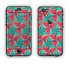 The Abstract Opened Green & Pink Cubes Apple iPhone 6 LifeProof Nuud Case Skin Set