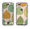 The Abstract Pastel Lined-Leaves Apple iPhone 6 LifeProof Nuud Case Skin Set