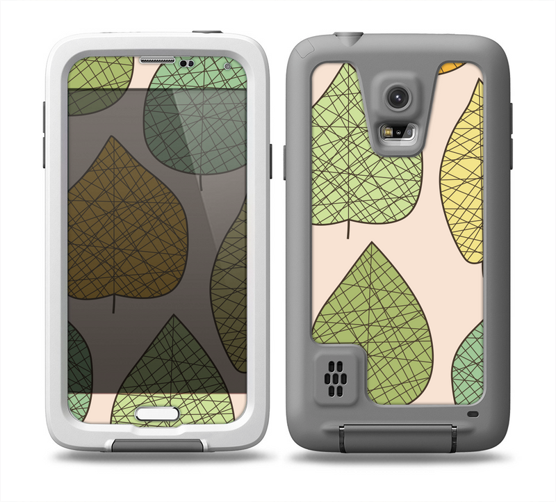 The Abstract Pastel Lined-Leaves Skin for the Samsung Galaxy S5 frē LifeProof Case