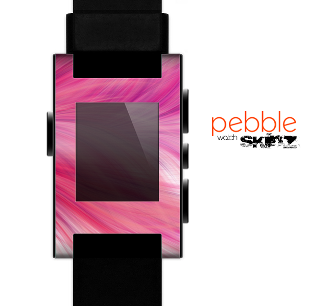 The Abstract Pink Flowing Feather Skin for the Pebble SmartWatch