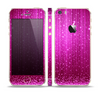 The Abstract Pink Neon Rain Curtain Skin Set for the Apple iPhone 5s