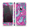 The Abstract Pink & Purple Vector Swirled Pattern Skin Set for the Apple iPhone 5s