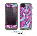 The Abstract Pink & Purple Vector Swirled Pattern Skin for the Apple iPhone 5c LifeProof Case