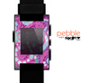 The Abstract Pink & Purple Vector Swirled Pattern Skin for the Pebble SmartWatch