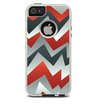 The Abstract Red, Grey and White ZigZag Pattern Skin For The iPhone 5-5s Otterbox Commuter Case