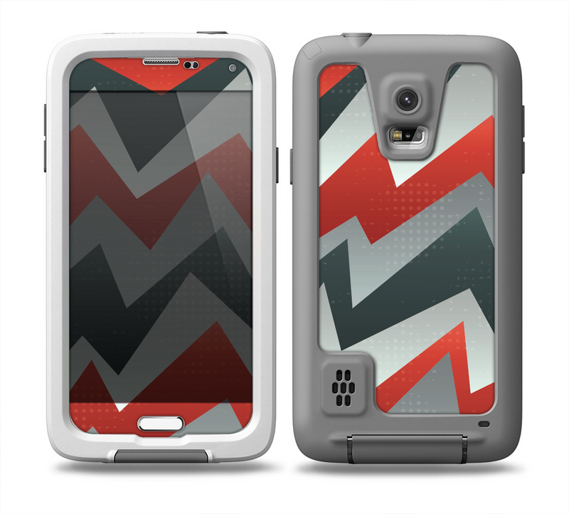 The Abstract Red, Grey and White ZigZag Pattern Skin for the Samsung Galaxy S5 frē LifeProof Case