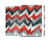 The Abstract Red, Grey and White ZigZag Pattern Full Body Skin Set for the Apple iPad Mini 2