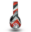 The Abstract Red, Grey and White ZigZag Pattern Skin for the Original Beats by Dre Studio Headphones
