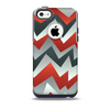 The Abstract Red, Grey and White ZigZag Pattern Skin for the iPhone 5c OtterBox Commuter Case