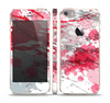 The Abstract Red, Pink and White Paint Splatter Skin Set for the Apple iPhone 5s