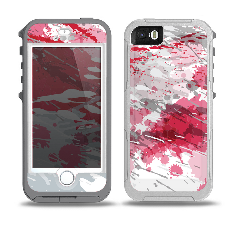 The Abstract Red, Pink and White Paint Splatter Skin for the iPhone 5-5s OtterBox Preserver WaterProof Case