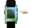 The Abstract Shaped Sparkle Unfocused Blue & Green Skin for the Pebble SmartWatch