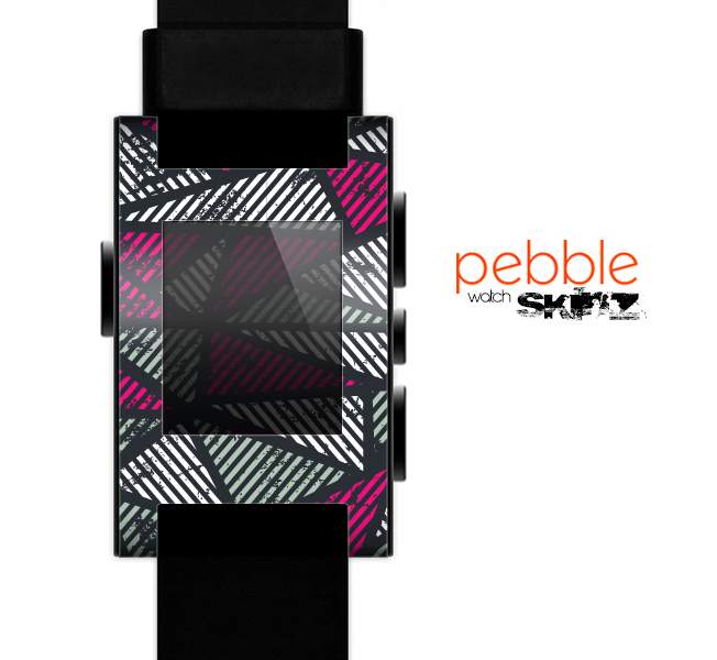The Abstract Striped Vibrant Trangles Skin for the Pebble SmartWatch