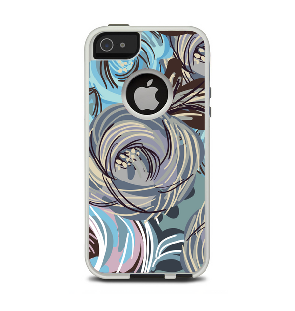 The Abstract Subtle Toned Floral Strokes Apple iPhone 5-5s Otterbox Commuter Case Skin Set