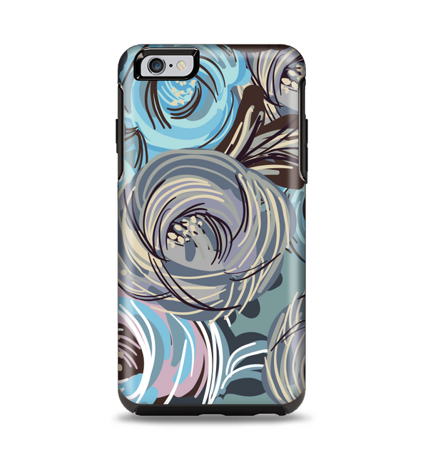 The Abstract Subtle Toned Floral Strokes Apple iPhone 6 Plus Otterbox Symmetry Case Skin Set