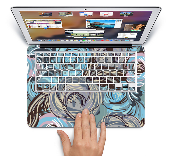 The Abstract Subtle Toned Floral Strokes Skin Set for the Apple MacBook Air 11""