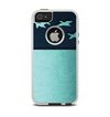 The Abstract Swirled Two Toned Green with Birds Apple iPhone 5-5s Otterbox Commuter Case Skin Set