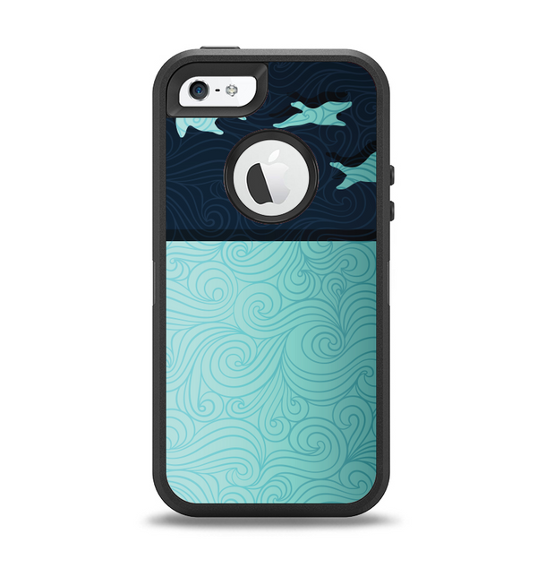 The Abstract Swirled Two Toned Green with Birds Apple iPhone 5-5s Otterbox Defender Case Skin Set