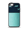 The Abstract Swirled Two Toned Green with Birds Apple iPhone 5-5s Otterbox Symmetry Case Skin Set