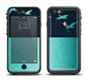 The Abstract Swirled Two Toned Green with Birds Apple iPhone 6/6s Plus LifeProof Fre Case Skin Set