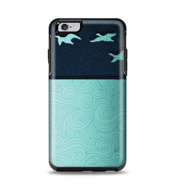 The Abstract Swirled Two Toned Green with Birds Apple iPhone 6 Plus Otterbox Symmetry Case Skin Set