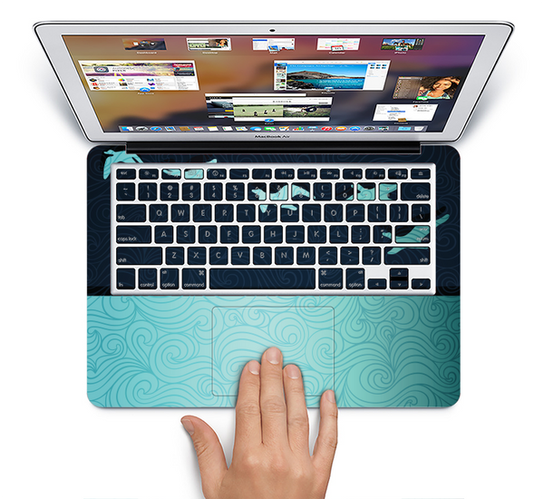 The Abstract Swirled Two Toned Green with Birds Skin Set for the Apple MacBook Air 11""