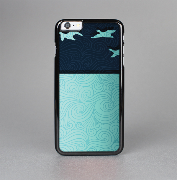 The Abstract Swirled Two Toned Green with Birds Skin-Sert Case for the Apple iPhone 6 Plus
