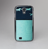 The Abstract Swirled Two Toned Green with Birds Skin-Sert Case for the Samsung Galaxy S4