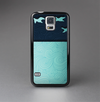 The Abstract Swirled Two Toned Green with Birds Skin-Sert Case for the Samsung Galaxy S5