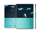 The Abstract Swirled Two Toned Green with Birds Full Body Skin Set for the Apple iPad Mini 3
