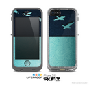The Abstract Swirled Two Toned Green with Birds Skin for the Apple iPhone 5c LifeProof Case