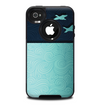 The Abstract Swirled Two Toned Green with Birds Skin for the iPhone 4-4s OtterBox Commuter Case