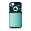 The Abstract Swirled Two Toned Green with Birds Skin for the iPhone 5c OtterBox Commuter Case