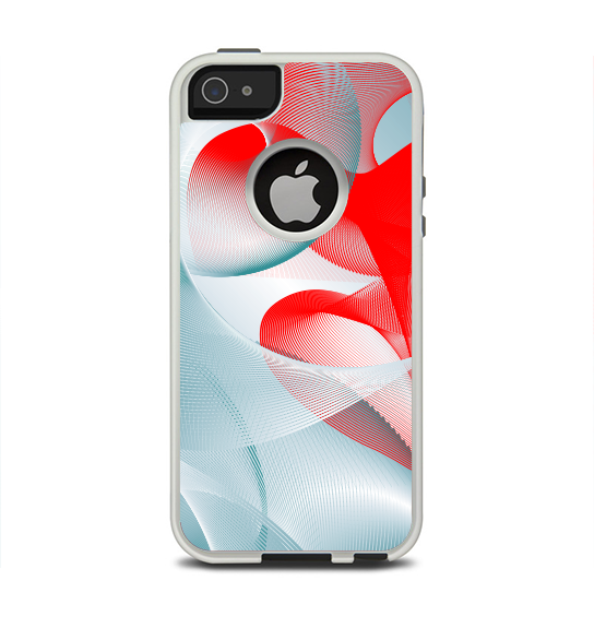 The Abstract Teal & Red Love Connect Apple iPhone 5-5s Otterbox Commuter Case Skin Set