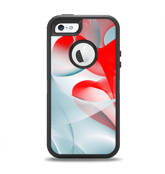 The Abstract Teal & Red Love Connect Apple iPhone 5-5s Otterbox Defender Case Skin Set